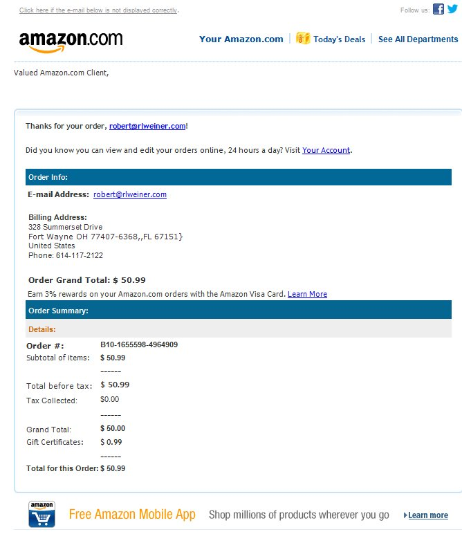 lame spams of the day fake amazon and paypal receipts. Black Bedroom Furniture Sets. Home Design Ideas